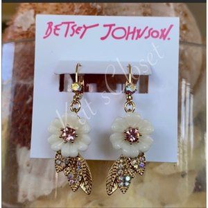 BETSY JOHNSON GRANNY CHIC FLORAL DROP EARRINGS